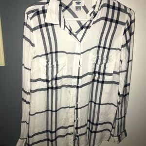 Old Navy White and Blue Flannel